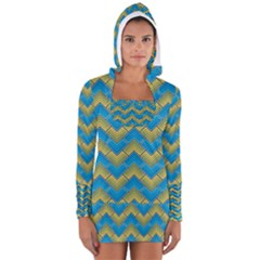Blue And Yellow Women s Long Sleeve Hooded T Shirt