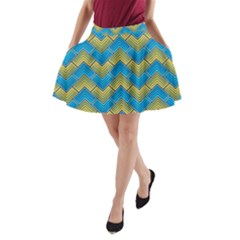 Blue And Yellow A-Line Pocket Skirt