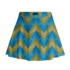Blue And Yellow Mini Flare Skirt