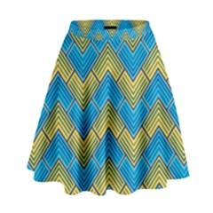 Blue And Yellow High Waist Skirt