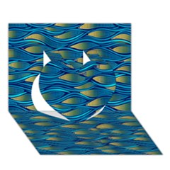 Blue Waves Heart 3D Greeting Card (7x5)