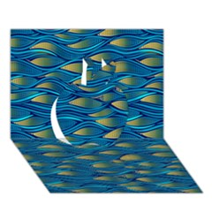 Blue Waves Apple 3D Greeting Card (7x5)