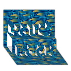 Blue Waves You Rock 3D Greeting Card (7x5)