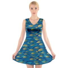 Blue Waves V Neck Sleeveless Skater Dress