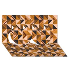 Brown Tiles Twin Hearts 3D Greeting Card (8x4)