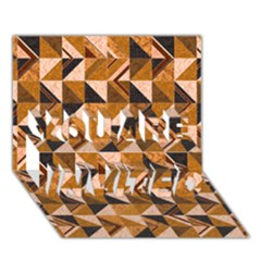 Brown Tiles You Are Invited 3d Greeting Card (7x5)