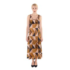 Brown Tiles Sleeveless Maxi Dress