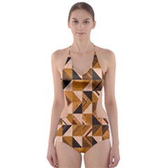Brown Tiles Cut Out One Piece Swimsuit
