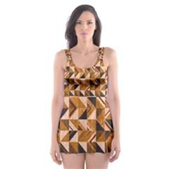 Brown Tiles Skater Dress Swimsuit