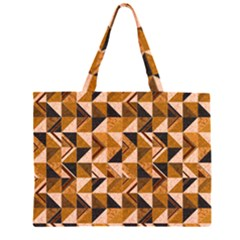 Brown Tiles Zipper Large Tote Bag