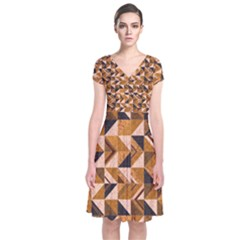 Brown Tiles Wrap Dress