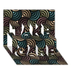 Glowing Abstract TAKE CARE 3D Greeting Card (7x5)