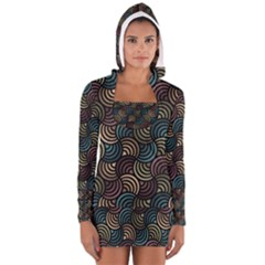 Glowing Abstract Women s Long Sleeve Hooded T-shirt