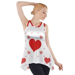 Red Hearts 2 Side Drop Tank Tunic