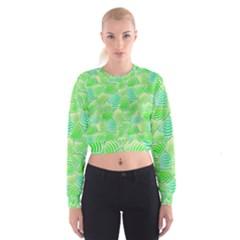Green Glowing Women s Cropped Sweatshirt
