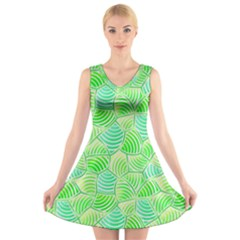 Green Glowing V-Neck Sleeveless Skater Dress