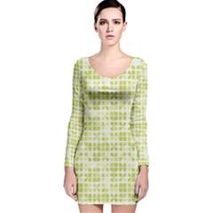 Pastel Green Long Sleeve Velvet Bodycon Dress