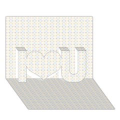 Pastel Pattern I Love You 3D Greeting Card (7x5)