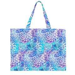 Boho Flower Doodle On Blue Watercolor Large Tote Bag
