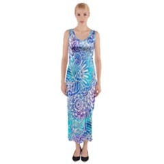 Boho Flower Doodle On Blue Watercolor Fitted Maxi Dress