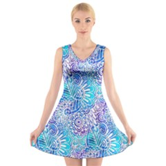 Boho Flower Doodle On Blue Watercolor V-Neck Sleeveless Skater Dress