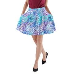 Boho Flower Doodle On Blue Watercolor A Line Pocket Skirt
