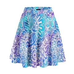 Boho Flower Doodle On Blue Watercolor High Waist Skirt