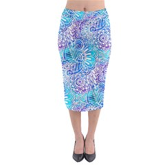 Boho Flower Doodle On Blue Watercolor Midi Pencil Skirt