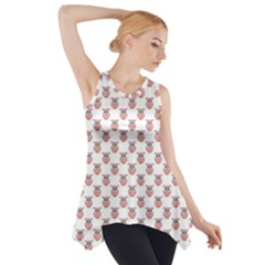 Small Pink Owls Side Drop Tank Tunic