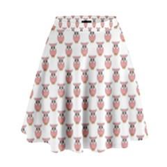 Small Pink Owls High Waist Skirt