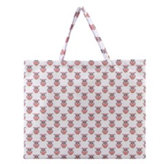 Small Pink Owls Zipper Large Tote Bag