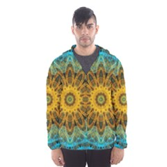Blue Yellow Ocean Star Flower Mandala Hooded Wind Breaker (Men)