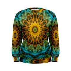 Blue Yellow Ocean Star Flower Mandala Women s Sweatshirt