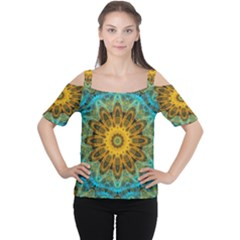 Blue Yellow Ocean Star Flower Mandala Women s Cutout Shoulder Tee
