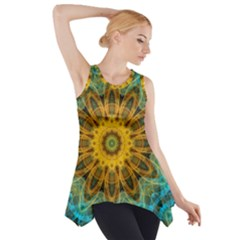 Blue Yellow Ocean Star Flower Mandala Side Drop Tank Tunic