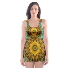 Blue Yellow Ocean Star Flower Mandala Skater Dress Swimsuit