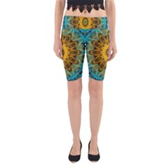 Blue Yellow Ocean Star Flower Mandala Yoga Cropped Leggings