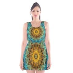 Blue Yellow Ocean Star Flower Mandala Scoop Neck Skater Dress