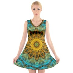 Blue Yellow Ocean Star Flower Mandala V Neck Sleeveless Skater Dress