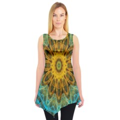 Blue Yellow Ocean Star Flower Mandala Sleeveless Tunic