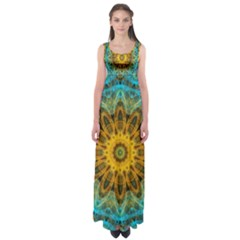 Blue Yellow Ocean Star Flower Mandala Empire Waist Maxi Dress