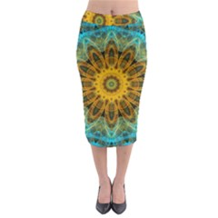 Blue Yellow Ocean Star Flower Mandala Midi Pencil Skirt