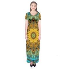 Blue Yellow Ocean Star Flower Mandala Short Sleeve Maxi Dress
