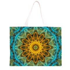 Blue yellow Ocean Star flower mandala Zipper Large Tote Bag