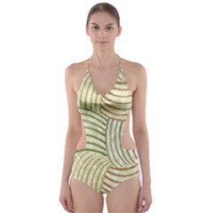 Pastel Sketch Cut Out One Piece Swimsuit