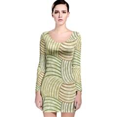Pastel Sketch Long Sleeve Velvet Bodycon Dress