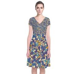 Pastel Tiles Wrap Dress
