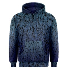 Blue Ombre Feather Pattern, Black,  Men s Pullover Hoodie