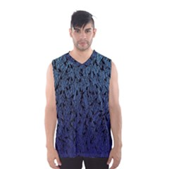 Blue Ombre Feather Pattern, Black,  Men s Basketball Tank Top