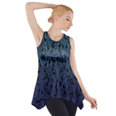 Blue Ombre Feather Pattern, Black,  Side Drop Tank Tunic